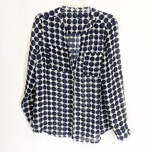 GAP semi sheer polka dot button down blouse